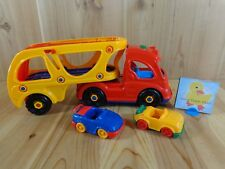 SEMI TRUCK Car Carrier Trailer and 2 Cars Sound Buttons Yellow Red Plastic Toy