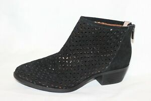 Lucky Brand Bergyn Black Perforated Suede Rear Zip Ankle Booties Women 7 M