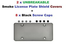 2 UNBREAKABLE Smoke License Plate Shield + 8 Black Screw Caps for Vehicles