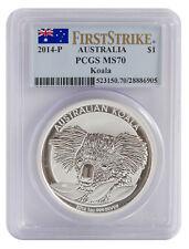 2014 PCGS MS70 1oz Australian Silver Koala Coin - First Strike/Flag Label