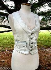 NEW Free People She Says Menswear Cotton Vest bleach pale denim pink XS