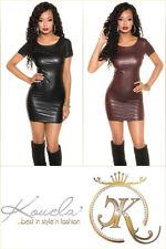 Sexy Wetlook Minikleid Reißverschluss Mini Kleid S M L