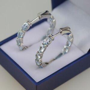 5 Ct Deep Blue Genuine Natural Aquamarine Earrings Hoop Clip Sterling Silver