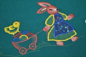 EASTER BUNNY PULLING CART OF EGGS & CHASING BUTTERFLY! VINTAGE GERMAN TABLECLOTH
