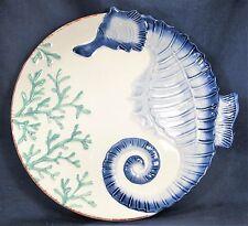 Sea Horse Design Ceramic 9 Inch Nautical Decor Serving Plate