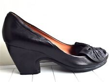 662df564a868 AUDLEY London Black Leather Wedge Block Heel Shoes Sz 40   US 10 M