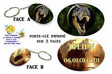porte clé ovale polymère dinosaure personnalisé avec prénom au choix réf 07