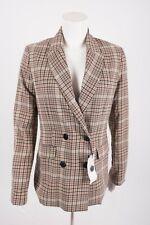Bershka Women's Blazer Suit Jacket Medium Double-Breasted Plaid Purple Tan NWT