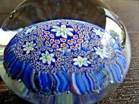 Murano Art Glass Millefiori Paperweight CLOSE Packed CANE Italian Flowers Blue