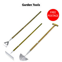 Stainless Steel Long Handle Dutch Hoe, Rake & Edging Iron Ash Wood Handle