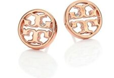 Tory Burch Logo Circle Studs Earrings Rose Gold Plated New On Card with Dust Bag