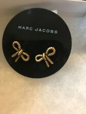 $55 MARC BY MARC JACOBS ANTIQUE GOLD TONE ROPE BOW CHARM STUD EARRINGS MJ1a