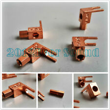 4x Right Angle Speaker Cable Spade Plug Banana Adapter Red Copper Plated