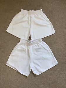 "Boys White School PE Shorts Size 26"" 2 pairs IMMEDIATE SHIPPING"