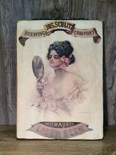 Vintage Jos Schlitz Beer Advertising Litho Print On Wood Bar Sign B7
