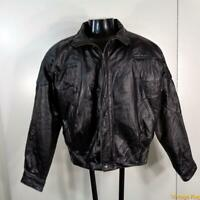 BYRNES & BAKER Soft LEATHER JACKET Mens Size M Black insulated zippered w/ liner