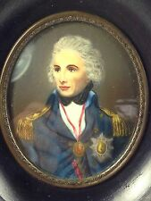 "Antique Miniature Hand Painted Portrait ""Lord Nelson""   Signed L Abbott"