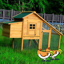Wooden Chicken Coop Poultry Cage Backyard Hen House Hutch w/Nest Box
