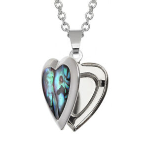 Heart Locket Necklace Paua Abalone Shell with Chain - Gift Boxed