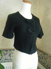 Anthropologie black cropped MOTH sweater cardigan with big buttons Size XS