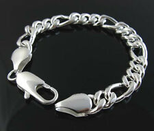 """925Sterling Silver Thick 10MM 3 Spaced 1 Strong Men Chain Bracelet 8"""" ZH097"""