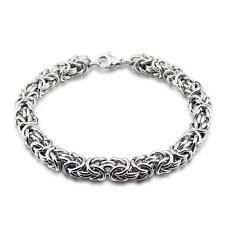 Men's Stainless Steel 7.6mm Byzantine Chain  Bracelet