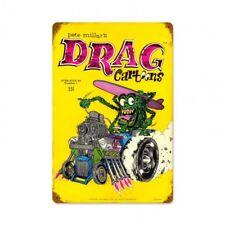 Drag Cartoons Tin Metal Sign Race Car Racing Rat Fink Garage Rat Rod