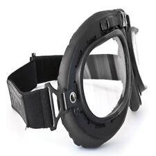 Occhiali da moto nero stile vintage da Bertoni-ITALIA AF195 nera in pelle