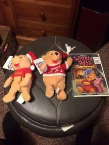 DISNEY Pooh Christmas:  2 Pooh Santa Plushes and 1 Pooh DVD. Brand new with tags