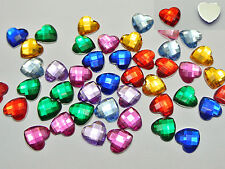 200 Mixed Color Acrylic Faceted Heart Flatback Rhinestone Gems 10X10mm No Hole