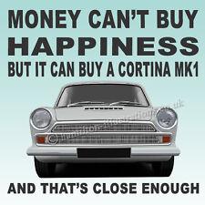 Ford Cortina Mk1 Super GT  Art illustration Drinks Coaster **WHITE**