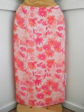 Womens Pink Peach Floral Print Straight Full Length Skirt Sz.8 By Worthington