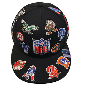 SUPER RARE! NFL Reebok All Over Throwback Logos (8) Fitted Cap Hat COLLECTIBLE