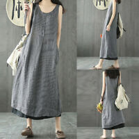 Women's Plus Size Striped Dress Loose Splicing Sleeveless Casual Long Dresses