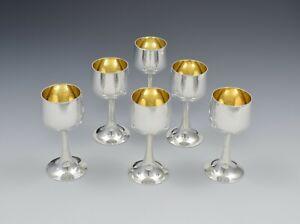 Early George V Set Of 6 Silver Goblet Liqueur Tot Cups Antique