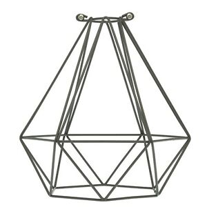Plug in  Cage Geometric Pendant Light With Vintage Style Braided Cord