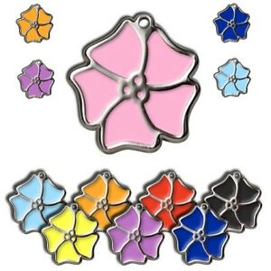 Aloha Flower 24mm Personalised Engraved Tags Dog Cat Pet ID Discs Disks Name