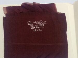 Plum Christian Dior Nylon Stockings 2 pair pk sizes 9.5-10.5 Ultra Sheer Vintage