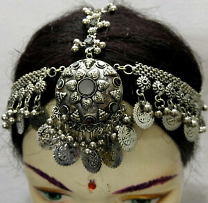 Vintage Coins Head Piece Jewelry Belly Dance Costume Kuchi Tribal Gypsy Ethnic