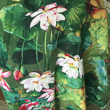 50x145cm Cotton Linen Fabric For DIY Girl Dress Chinese Painting Lotus Green D1B