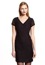 NWT ADRIANNA PAPELL Black Tweed V-Neck Dress with Embellished Sleeves, Size 6