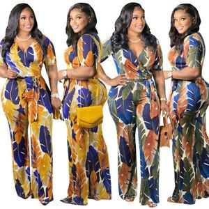 NEW Plus Size Women Short Sleeves V Neck Multicolor Print Casual Long Jumpsuit