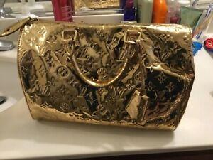 Authentic Louis Vuitton miroir hand bag  purse speedy 30 gold limited