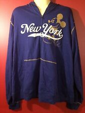 "DISNEY STORE Men's Blue ""New York Mickey"" Hooded Sweatshirt - Large - NWT $64.50"
