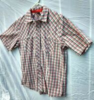 Nike Jordan Button up Checkered Short Sleeve Camp Shirt Mens Sz Med #289