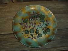 PIER 1 HAND SET OF 4 PAINTED GLASS PLATES WITH FLORAL & LEAVES 8 1/2""