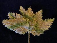 "Vintage Millinery Flower 3 1/2"" Brown Green Velvet Leaf Lot 6p Hat + Hair Z38"
