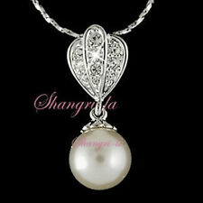 18K White GOLD Plated Wedding White Pearl NECKLACE with Swarovski CRYSTAL L147