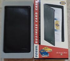 Fossil Black Soft Nappa Leather Business Card Case with Pockets Mint New in Box