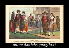 SVIZZERA COSTUMI NUZIALI FRIBURGO SCHWITZ SCIAFFUSA LITOGRAFIA ORIGINALE 1800